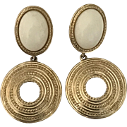 Vintage Trifari cream and gold tone dangling pierced earrings