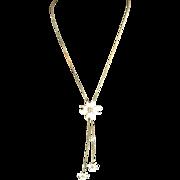 Vintage Dogwood Blossom Lariat Style Necklace