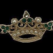 Vintage crown brooch pin Saint Patrick Day
