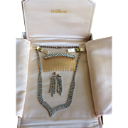 Vintage boxed Rhinestone necklace earrings and jeweled hair comb