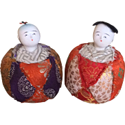 Vintage miniature Japanese gofun pin cushion dolls