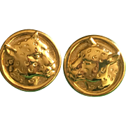 Vintage gold plated Panther earrings