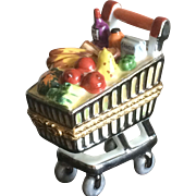 Limoges grocery cart porcelain box