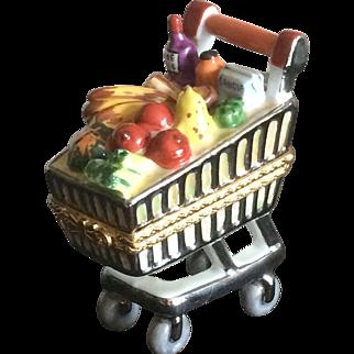 Limoges grocery cart porcelain box