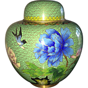 Vintage Japanese cloisonne ginger jar in avocado green peony motif