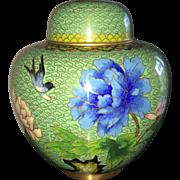 Vintage Asian cloisonne ginger jar in avocado green