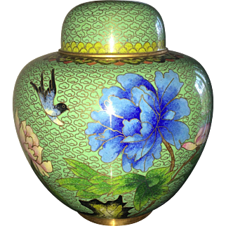 Vintage cloisonne ginger jar in avocado green