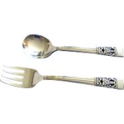 Vintage toddler fork and spoon set Oneida Community coronation pattern