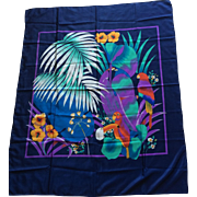 Vintage tropical parrot scarf