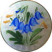 Vintage Opro Norway Sterling Vermeil Hand Painted Enamel Bluebell Flowers Pin