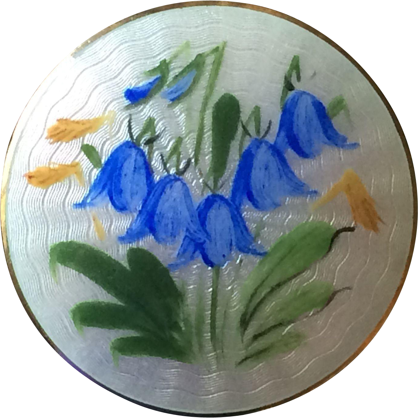 Vintage Opro Norway sterling silver and enameled bluebell brooch