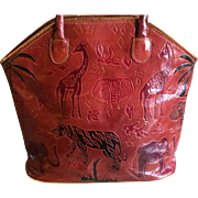 Vintage Moroccan Leather Hand Bag with African Animals