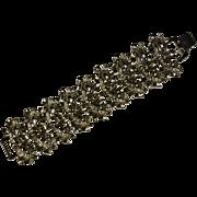 Vintage large silver tone olive leaf motif bracelet