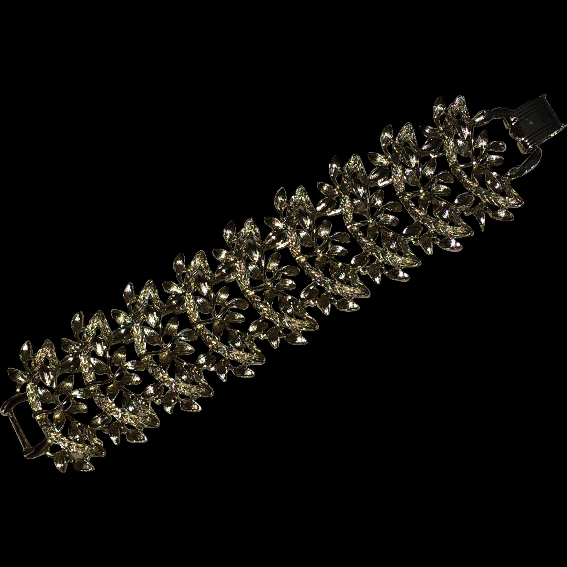 Vintage Large  Silver Tone Olive Leaf Bracelet