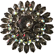 Vintage gray moss rhinestone brooch in three layers