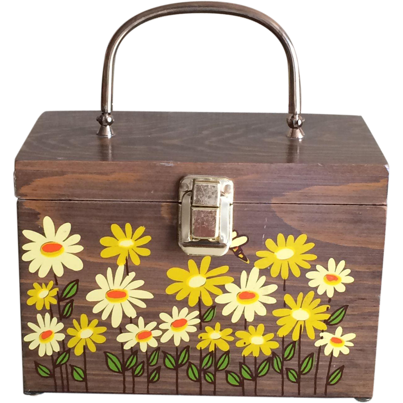 Vintage Caro Nan Wood Handbag Yellow Daisies and Bees