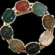 Vintage semi precious stone scarab circle pin brooch