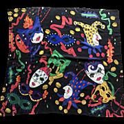 Vintage hand painted and handmade silk Mardi Gras scarf