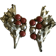 Vintage Coro faux pearl and faux coral clip on earrings