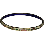 Vintage Tan Cloisonne Bangle Bracelet