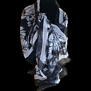 Vintage Black and White Silk Chiffon Brighton Shawl Scarf - Red Tag Sale Item