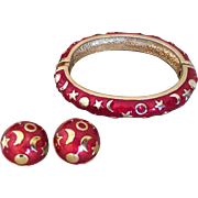 KJL Kenneth J Lane Moon Stars Celestial Bangle Bracelet and Clip Earrings Set Gold Tone Red Enamel