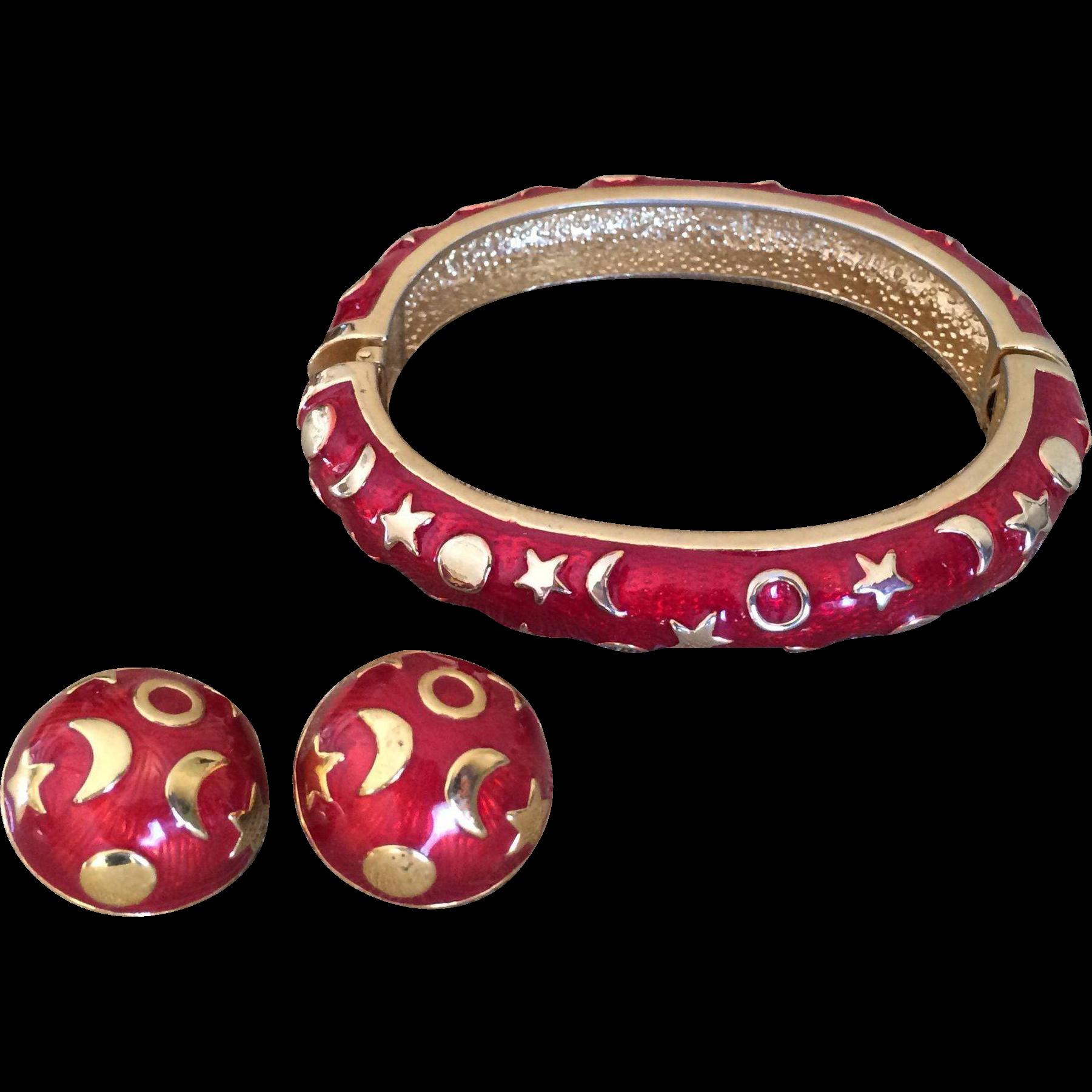 KJL Kenneth J Lane Moon Stars Celestial Bangle Bracelet and Clip Earrings Set Gold Tone Red Enamel