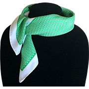Vintage kelly green and polka dot scarf
