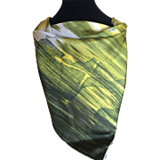Vintage 1950s Bohemian Beatnik expressive silk satin scarf