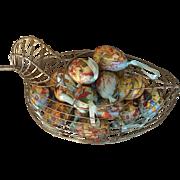 Vintage Wire Duck Basket with Paper Mache Eggs