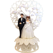 Vintage Hand Painted and Detailed Wedding Cake Topper