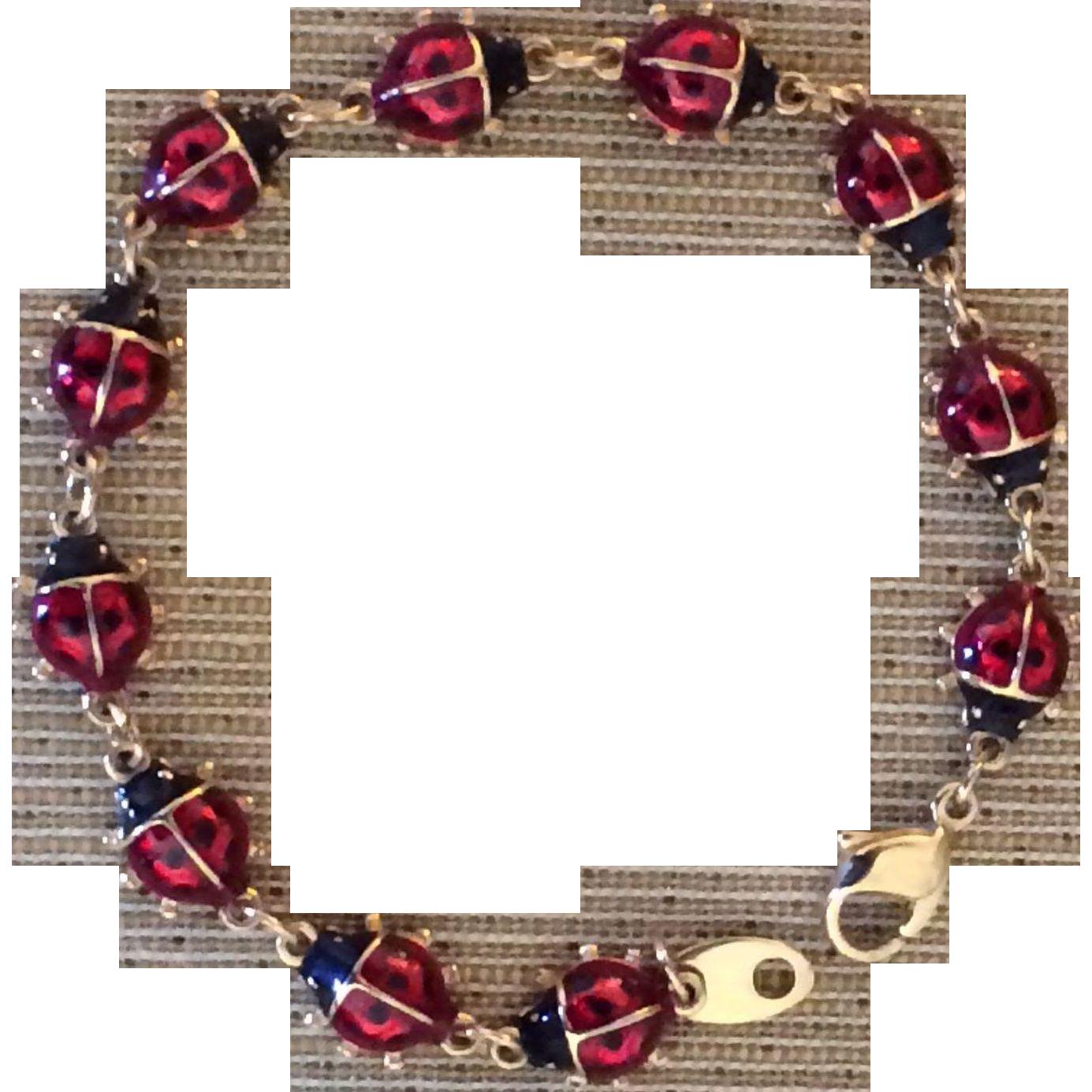 Vintage Enameled Ladybug Bracelet