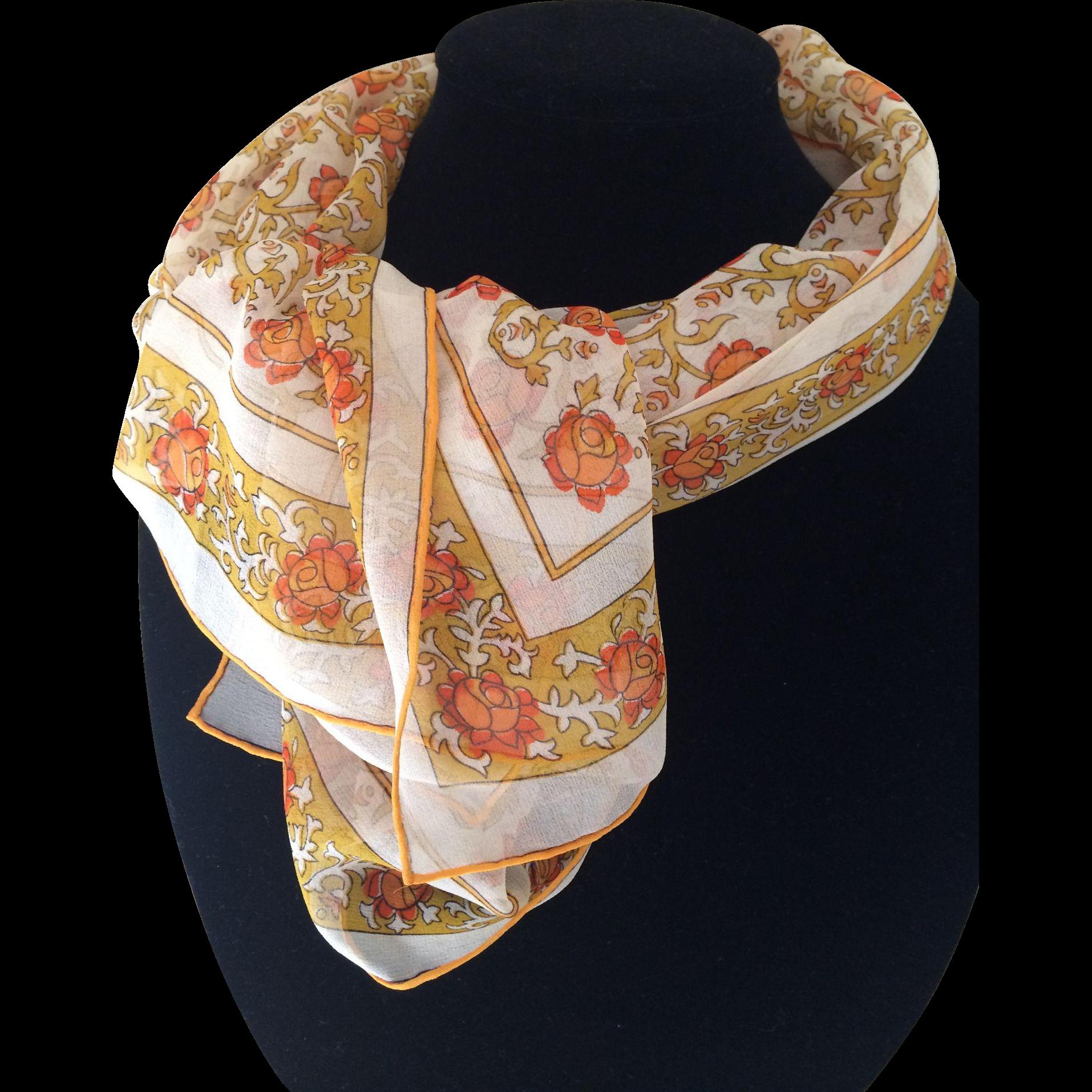 Vintage gossamer silk chiffon floral print rectangular scarf