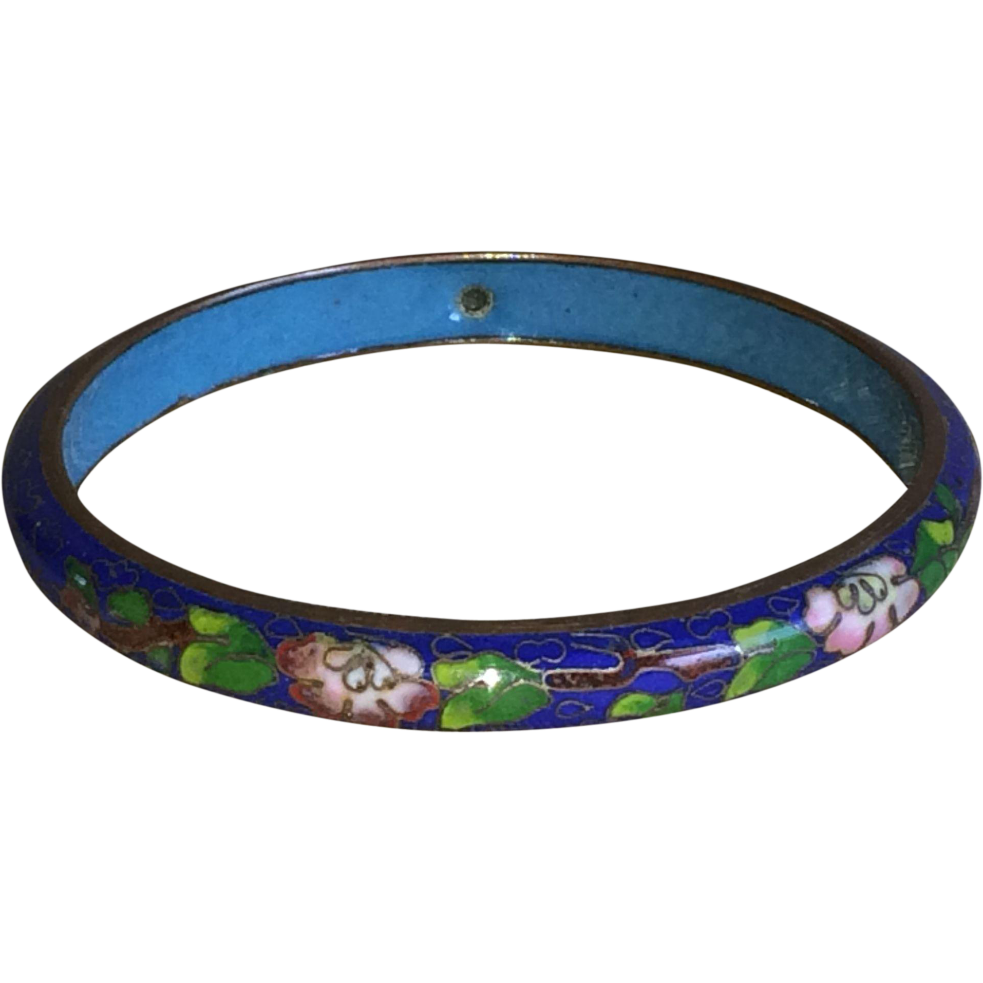 Vintage cobalt blue cloisonne bangle bracelet