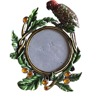 Vintage Enameled and jeweled parrot picture frame