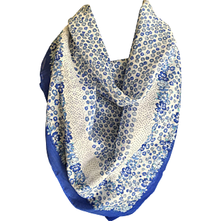 Vintage batiste cotton blue and white flower print scarf