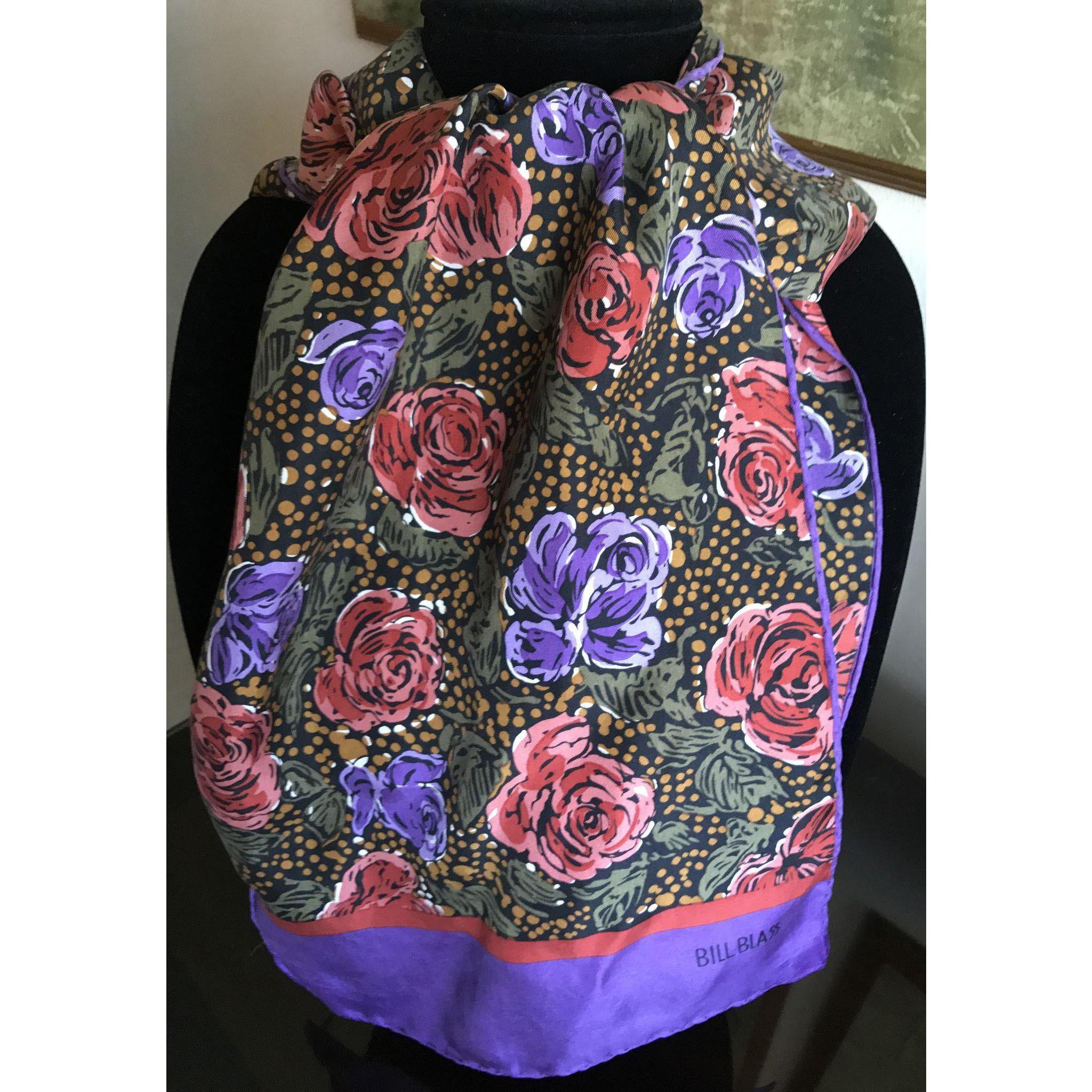 Vintage Bill Blass Silk Scarf Flower Motif