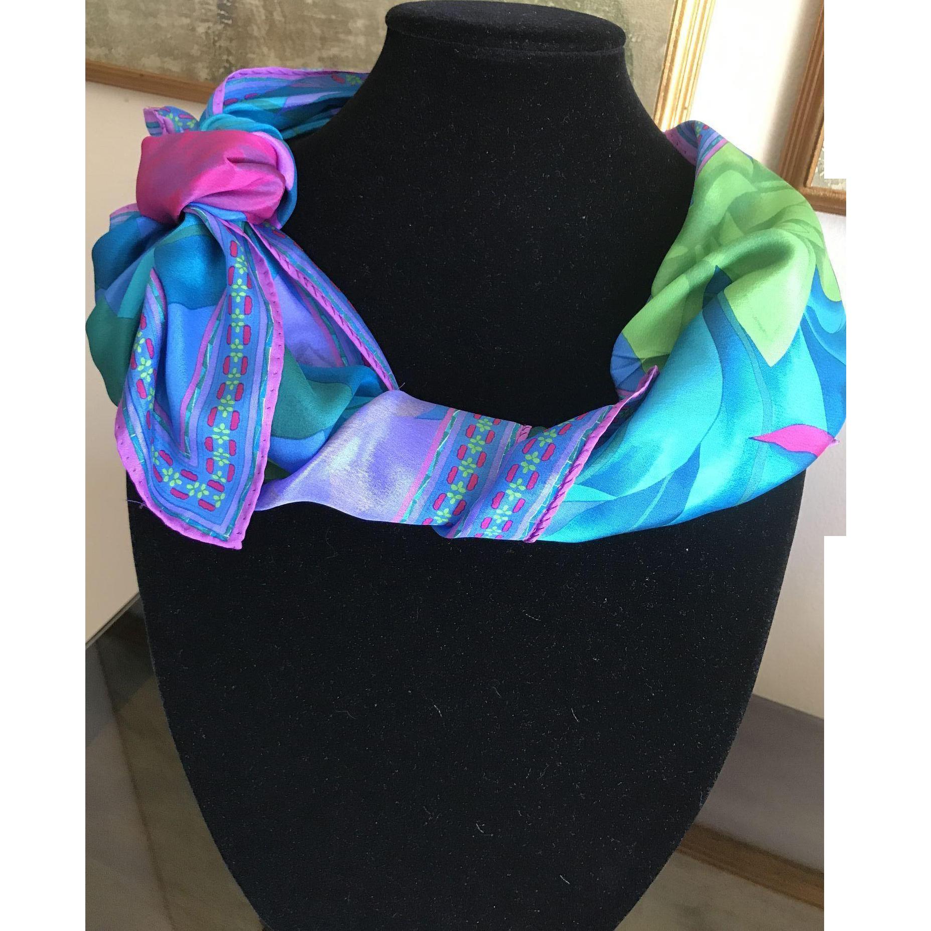 Vintage pure silk lotus patterned scarf