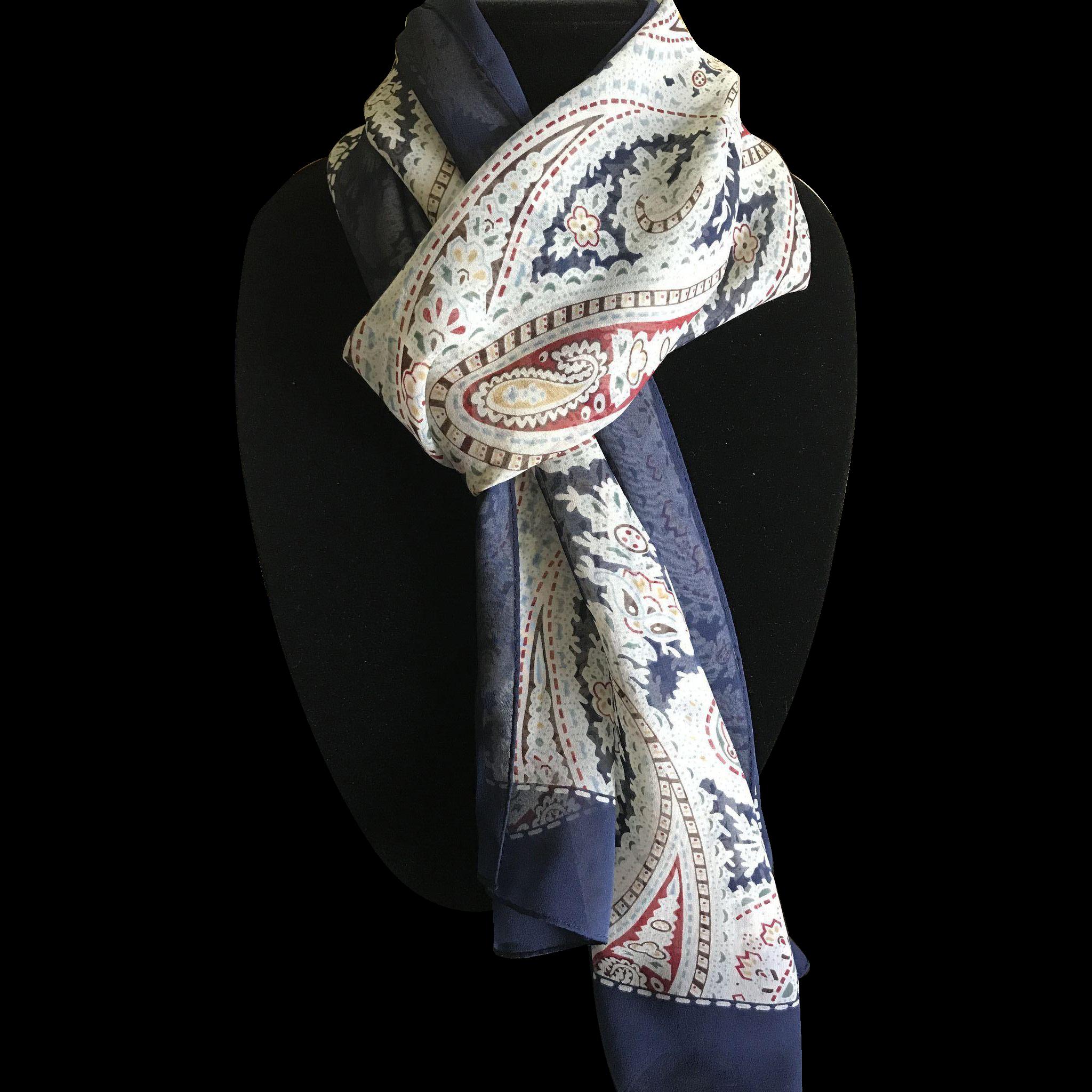 Vintage pure silk chiffon paisley print rectangular scarf