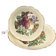 Vintage Paragon Bone China Tea Cup and Saucer Strawberries