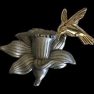 J J Jonette Trembler Hummingbird Daffodil Brooch Pin