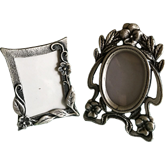 Two miniature pewter standing picture frames dollhouse perfect