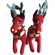 Two R Dakin plush red velveteen reindeers 1961