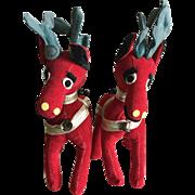 Two R Dakin plush red velveteen reindeers 1961