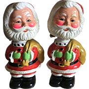 2 rare mid-century bobble head Santa Banks
