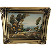 Vintage miniature painting for dollhouse