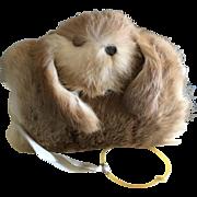 Vintage blonde fur bunny hand warmer muffler