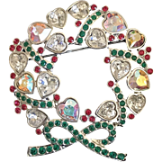Swarovski crystal Christmas heart wreath Pin