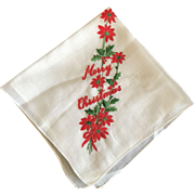 Embroidered Christmas Hankie