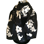 Vintage Black and White silk scarf by Elaine Tracy